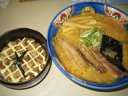 チャーシューマヨ丼と醤油ラーメン